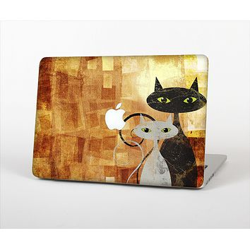 The Orange Grungy Textured Cat Skin Set for the Apple MacBook Air 13""