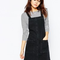 ASOS Denim Mini Pinafore In Washed Black