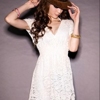 Womens Overall Lace V-neck Tunic Fitted Mini Dress