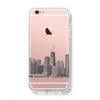 Chicago City Skyline USA  iPhone 6s Clear Case iPhone 6 plus Cover iPhone 5s 5 5c Transparent Case Galaxy S6 Edge S6 Case