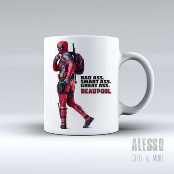 DEADPOOL MUG. Personalised Marvel Deadpool coffee/tea mug. Custom name X-Men/Avengers movie inspired gift for men or women. Nerd geek love