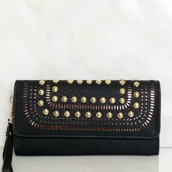 Studded Faux Leather Wallet Black