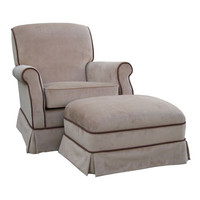 Angel Song 201021178Down Classic Velvet Brown Adult Club Rocker Glider w/ Plush Down Cushion