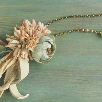 petite bouquet necklace - hand dyed - pastel color, rose necklace, leather bow, jade stone, shabby chic,
