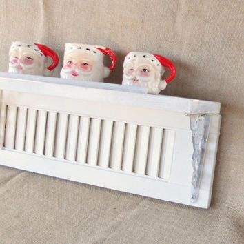 Vintage Repurposed Cottage Chic White Shutter Shelf, Distressed, Home Decor