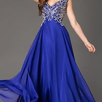Long V-Neck Prom Dress