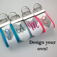 mini FINGER Key FOB / KeyChain / Wristlet  - initial monogram on your choice of chevron preppy -  custom
