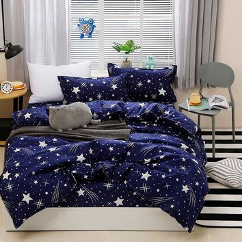 Jeefttby Home Textile Dark Blue Gypsophila Bedding Set 4PCS Adult Full Size Large Quilt Cover/Bed Sheet/Pillowcase Bedding