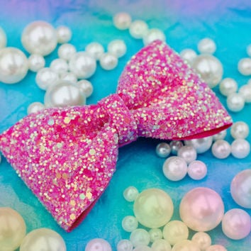 Sugar Poodle Pink Glitter Hair Bow Sparkly Cute Kawaii Glitter Bow