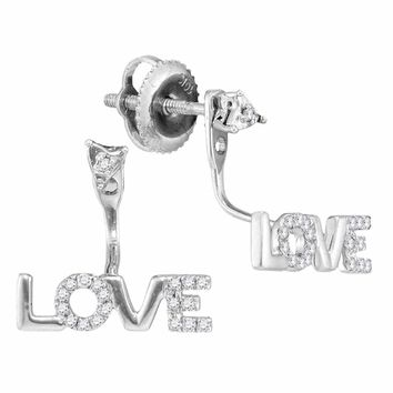 10kt White Gold Women's Round Diamond Love Stud Jacket Earrings 1-10 Cttw - FREE Shipping (US/CAN)