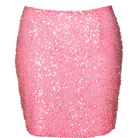 Boutique Sally Neon Sequin Mini Skirt