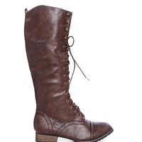 Papaya Clothing Online :: FAUX LEATHER COMBAT BOOTS