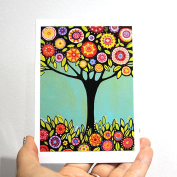 Birthday Card with a tree, blank, print from my original painting