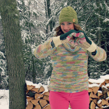 Green Wool Mittens, Sweater Mittens, Women's Pink Stripes Tan Fair Isle Fleece Lined Made in Wisconsin Recycled SweatyMitts Upcycled Wool