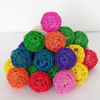 3cm Rattan ball vine confetti Scatter for Gift box Craft Birthday Wedding Party baby shower table centerpieces favor DecorDIY Wh