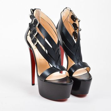 QIYIF Black Leather Christian Louboutin  Charleze  Platform Sandals