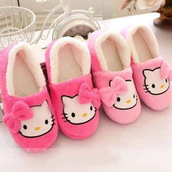 2016 Winter Women Slippers Cartoon Hello Kitty Slippers Indoor Home Shoes Warm Adult S