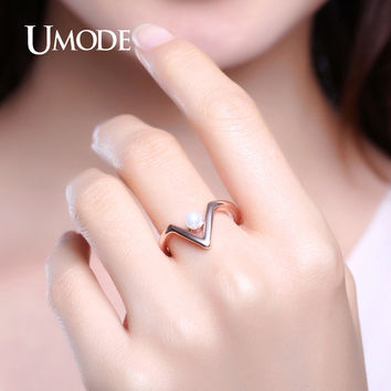 UMODE Arrow Shape Simulated Pearl Wedding Rings For Women Rose Gold Simple Christmas Gifts Fashion Jewelry Anel Feminino UR0371C