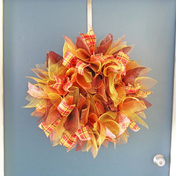 Fall Deco Mesh Sunburst Wreath