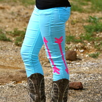 TURQUOISE BOOT TUCK JEANS WITH HOT PINK ARROWS