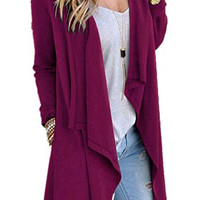 Poulax Women's Solid Lightweight Knitted Open Front Long Trench Coat Cardigan