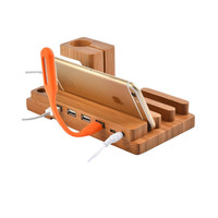Multi-function 4 Port USB For Apple Watch 38mm 42mm Genuine Bamboo Charging Docking Station