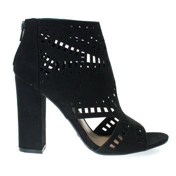 Encounter22S Black F-Suede by Bamboo, Black Suede Laser Chop Out Ankle booties Sandal, Chunky Block Heel, Women's Shoes