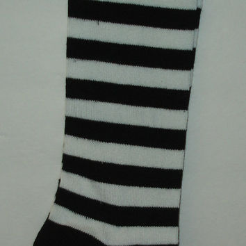 Vintage Deadstock NOS Steampunk Black & White Striped Over The Knee Lambswool Socks Hose Adult Made In Japan