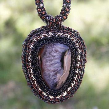 Embroidered Agate Pendant Beadwoven Necklace Glass Beads Black Brown