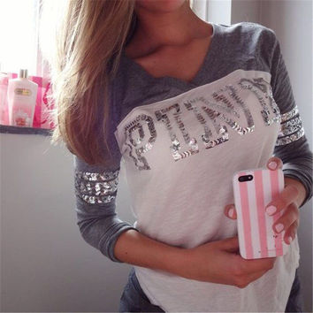 Victoria's Secret PINK Women's Fashion Letter Print V-neck Long-sleeves Pullover Tops