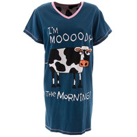 Cow Moody in the Morning Women's V-Neck Nightshirt