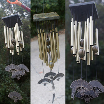 Outdoor Living Yard Garden  12 Tubes Bells Copper Decor Wind Chimes Home Decoration Aluminum and wood