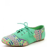 Nature Breeze Cambridge-36nf Sea Green Tribal Perforated Oxford Flats and Shop Shoes at MakeMeChic.com