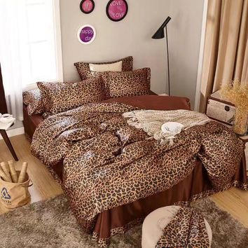 satin silk bedding set comforter duvet covers bedspreads twin full queen king size bedroom decor brown sexy leopard skin printed
