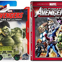 Ultimate Avengers: The Movie Animated DVD & Hot Wheels Exclusive Marvel Avengers Car - Cartoon Iron Man, Hulk, Super hero movie Set
