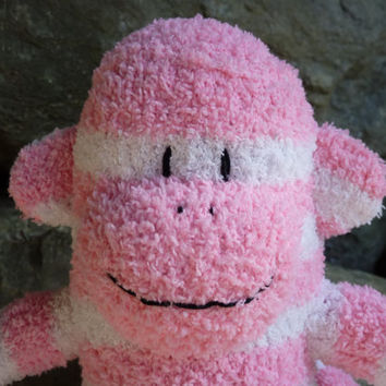 sock monkey with FREE heart or monogram patch, sock monkey doll, sock monkey plush, plush monkey, pink monkey
