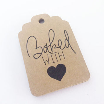 25 Kraft Baked with Love - Hang Tag, Gift Tag, Price Tag Die cuts-  2.25X1.5 inch - Christmas, Holiday Baking