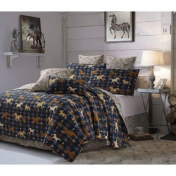 Navy Wild and Free Western Horses Quilt Bedspread - 3 Piece Set