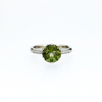 Peridot solitaire engagement ring, diamond ring, white gold, yellow gold, rose gold, unique, green engagement, peridot wedding, custom ring