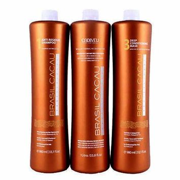 BRAZILIAN KERATIN TREATMENT BRASIL CACAU 3 X 750ml KIT. FRACTIONAL SALE.