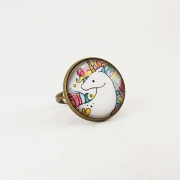 Unicorn Ring, Rainbow Fantasy Jewelry, Adjustable Ring