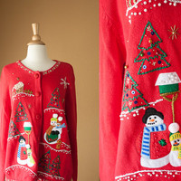Vintage Xmas Sweater | Tacky Xmas Ugly Christmas Sweater Red Preppy Novelty Holiday Jumper Winter Beaded 80s 90s Slouchy Cardigan Snowman