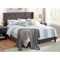 Samuel Lawrence Upholstered Panel Queen Bed Frame in Charcoal