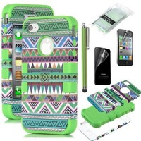 Pandamimi ULAK 3-Piece Hybrid High Impact Case Tribal Green Silicone for iphone 4 4S +Screen Protector+Stylus:Amazon:Cell Phones & Accessories