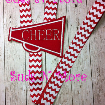 Cheer Megaphone Embroidered Flower Bow or Clip Holder, clip keeper, clippie keeper, wall hanging. Lots of colors available