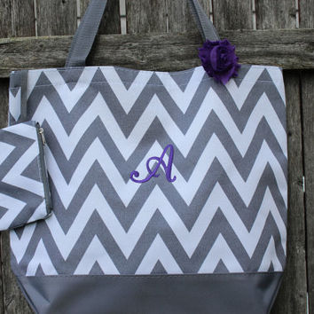 Gray Chevron Bag - Monogrammed Tote Bag - Beach Bag - Bridesmaids Gift - Embroidered Tote