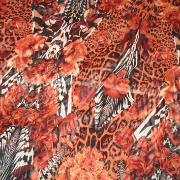 ROBERTO CAVALLI fabric 100% Silk Chiffon for dress,shirt or skirt, Made in Italy 140x135 cm