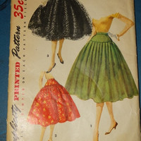 1955 Simplicity Printed Dress Pattern, Pattern 1086 Misses Skirt, Simple to Make, Waist 24, Hip 33, Rock-a-Billy Style, Rocker, Pin-up