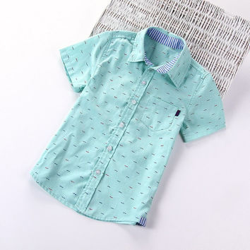 New arrival,Children boys brand fashion kids cotton short-sleeved shirts,3 colors,Fit for 3-10 years kids boys