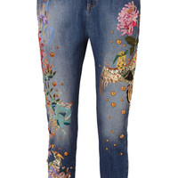 Zuhair Murad - Embroidered embellished low-rise slim boyfriend jeans